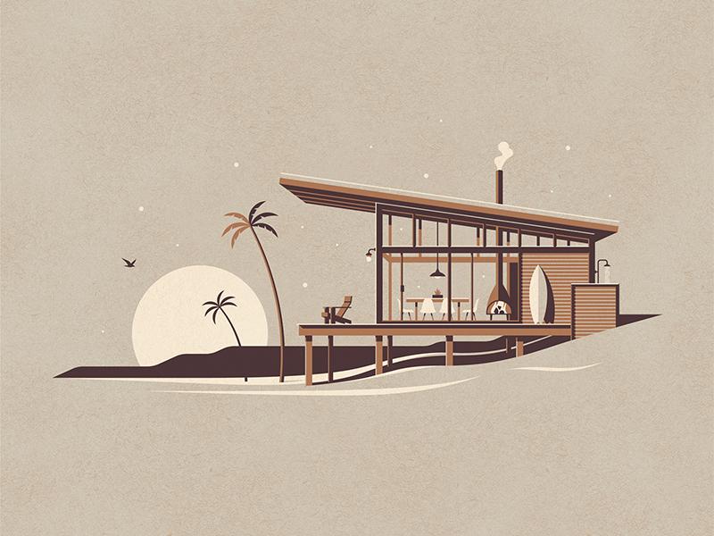 La Jolla Art Print moon palm tree modern beach house beach ocean cabin a frame dkng dan kuhlken nathan goldman dkng studios
