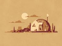 Sedona Art Print cactus geodesic dome geodesic desert cabin a frame dkng dan kuhlken nathan goldman dkng studios