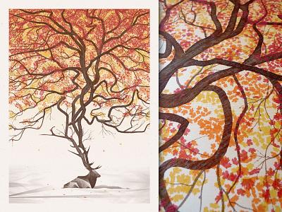 Poster Design: Textures and Halftones for Screen Printing dkng studios nathan goldman dan kuhlken skillshare screenprint poster snow tree elk dkng