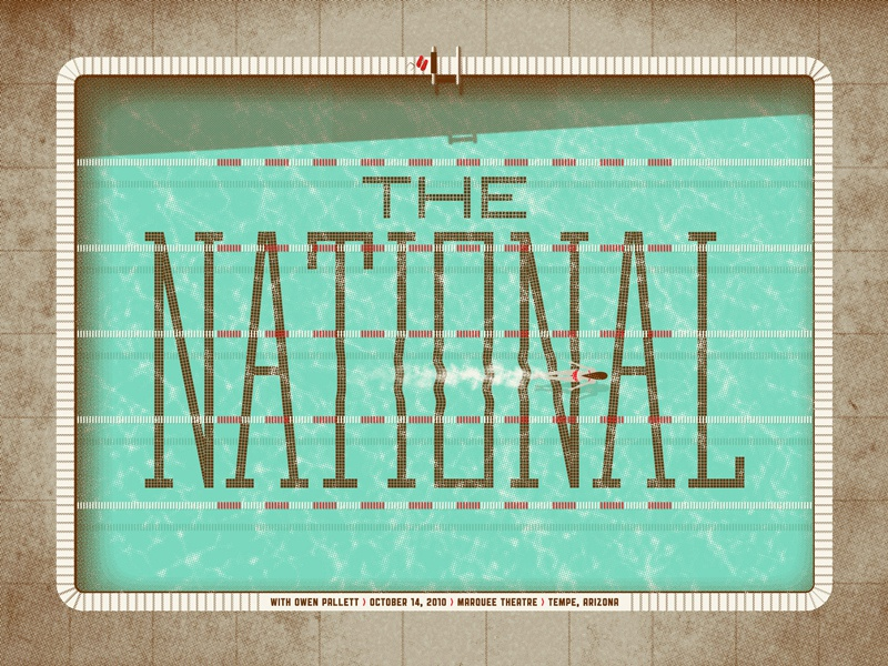 Rock Poster Design: From Concept Development to Execution gig poster the national dkng studios nathan goldman dan kuhlken swimmer water pool dkng