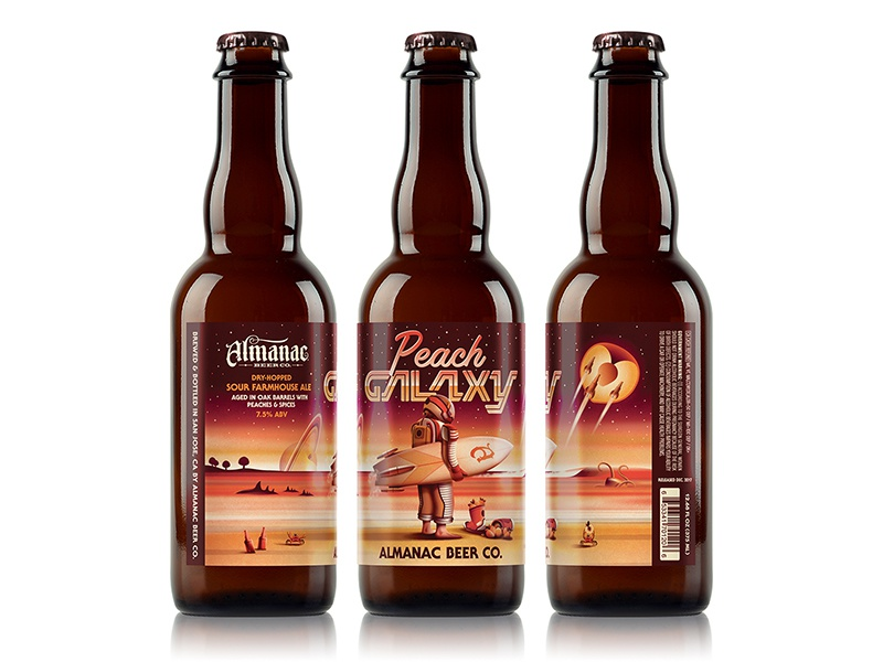 Almanac Beer Co. Peach Galaxy Beer Label dkng studios nathan goldman dan kuhlken beach surfboard packaging beer almanac peach galaxy space dkng