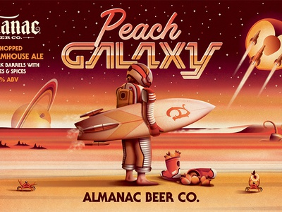 Almanac Beer Co. Peach Galaxy Beer Label (Close Up) dkng studios nathan goldman dan kuhlken saturn beach surfboard packaging beer peach galaxy space dkng