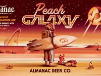Almanac Beer Co. Peach Galaxy Beer Label (Close Up) dkng studios nathan goldman dan kuhlken saturn beach surfboard packaging beer peach galaxy space dkng