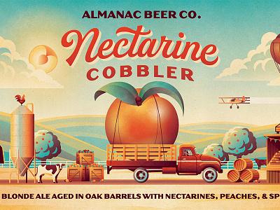 Almanac Beer Co. Nectarine Cobbler Beer Label (Close up) dkng studios nathan goldman dan kuhlken farmland clouds nectarine truck barn farm packaging beer dkng