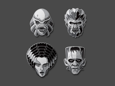 Universal Monsters: Silver Screen Edition creature from the black lagoon bride of frankenstein enamel pin dkng studios nathan goldman dan kuhlken wolfman frankenstein dkng
