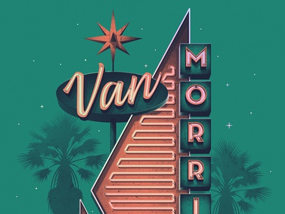 Van Morrison Los Angeles, CA Poster los angeles palm tree van morrison dkng studios nathan goldman dan kuhlken california sign neon dkng