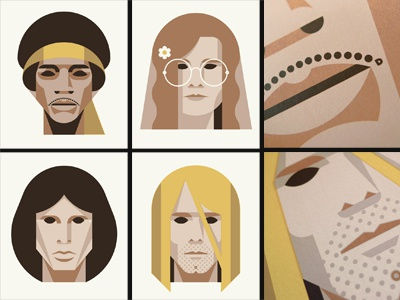 27 Club Print Set face polygonal vector cobain morrison hendrix joplin set dan kuhlken nathan goldman art print poster screen print silkscreen 27 club forever 27 dkng