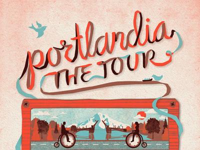 """Portlandia, The Tour"" Poster portlandia tour bike bicycle mountain portland bird tape dan kuhlken nathan goldman poster screen print silkscreen dkng"
