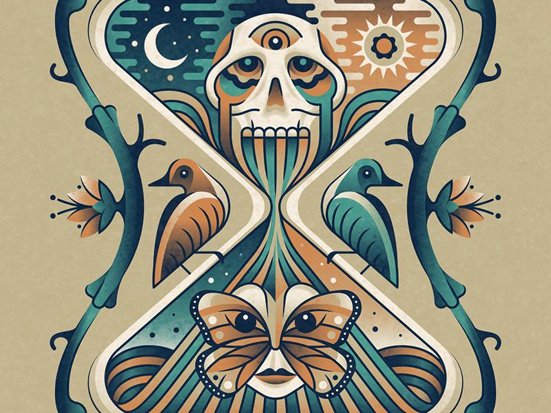 The Decemberists 2018 Tour Poster (Regular) dkng studios nathan goldman dan kuhlken moon sun butterfly bird skull hourglass dkng