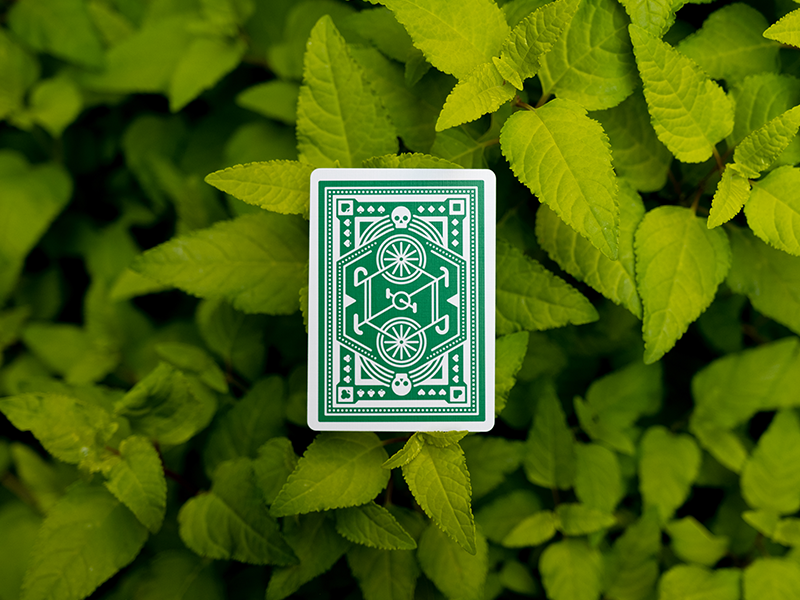 Green Wheel Playing Cards playing cards dkng studios nathan goldman dan kuhlken leaves plant bike green dkng