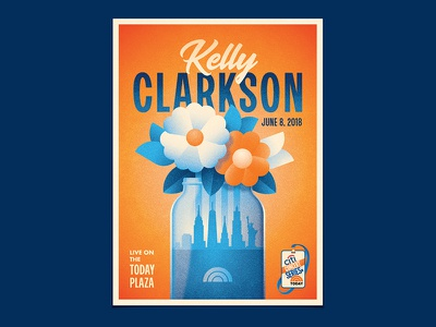 Kelly Clarkson mason jar new york dkng studios nathan goldman dan kuhlken vase flowers today nyc summer dkng