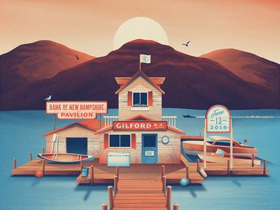 Dave Matthews Band Gilford, NH Poster dkng studios nathan goldman dan kuhlken boat kayak seagull dock lake sun dkng