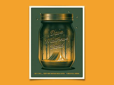 Dave Matthews Band Noblesville, IN Poster dave matthews band mason jar dkng studios nathan goldman dan kuhlken firefly tree woods tent camping dkng