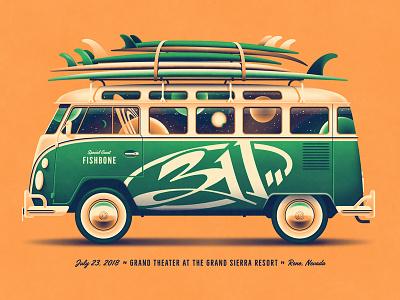 311 Reno, NV Poster (Regular Band Edition) vw bus dkng studios nathan goldman dan kuhlken surfboard surfing space van car volkswagon bus dkng