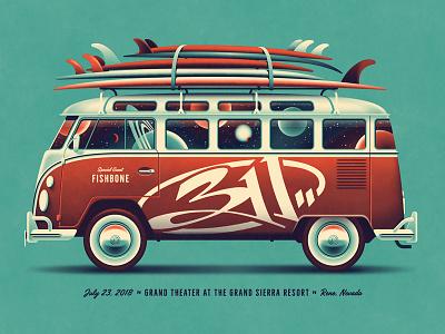 311 Reno, NV Poster (Regular DKNG Edition) vw bus dkng studios nathan goldman dan kuhlken surfboard surfing space van car volkswagon bus dkng