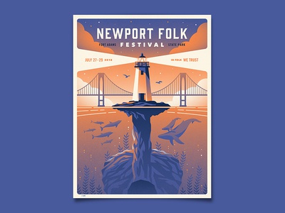 Newport Folk Festival Poster dkng studios nathan goldman dan kuhlken newport bridge dolphin whale guitar lighthouse dkng