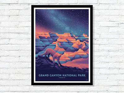 Grand Canyon National Park Timed Edition Poster mountain lion national park grand canyon dkng studios nathan goldman dan kuhlken canyon stars night moon mountain dkng