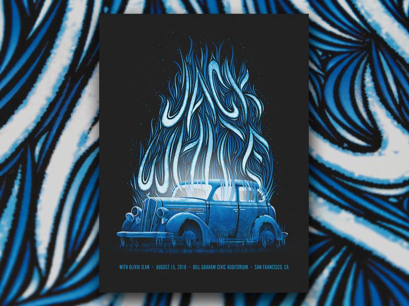 Jack White (San Francisco 8/15/18) hotrod car flames fire san francisco screen print dkng studios vector dkng poster nathan goldman dan kuhlken