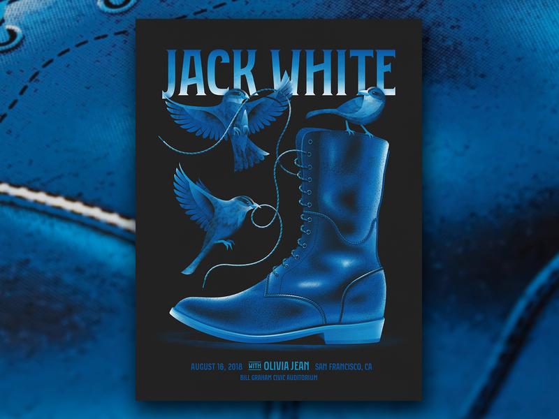 Jack White (San Francisco 8/16/18) shoelace jack white blue sparrows sparrow birds bird shoe boot san francisco silkscreen screen print dkng studios vector poster dkng nathan goldman dan kuhlken