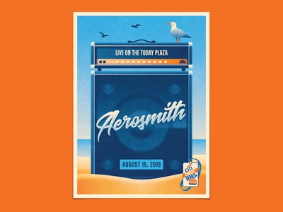 Aerosmith summer ocean beach seagulls seagull amplifier amp aerosmith geometric dkng poster vector nathan goldman dan kuhlken