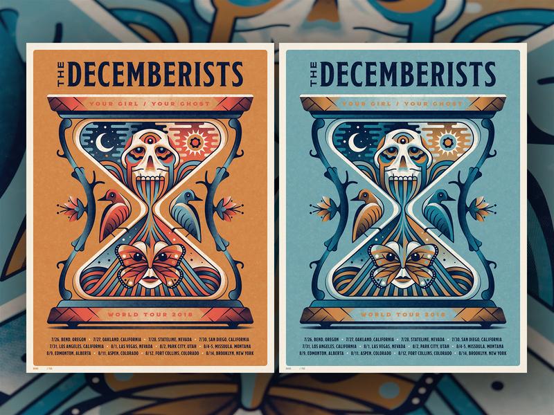 New The Decemberists Posters decemberists the decemberists sun stars moon flower birds bird hourglass butterfly skull silkscreen screen print geometric dkng studios poster vector dkng nathan goldman dan kuhlken