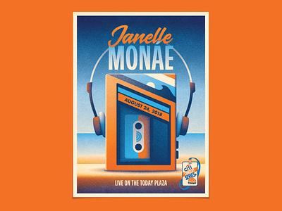 Janelle Monáe headphones beach walkman cassette tape cassettes cassette geometric dkng studios poster vector dkng nathan goldman dan kuhlken