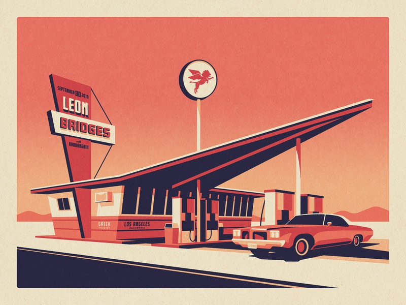Leon Bridges Los Angeles, CA Poster lion fuel station road car gas station leon bridges silkscreen screen print geometric dkng studios poster vector dkng nathan goldman dan kuhlken