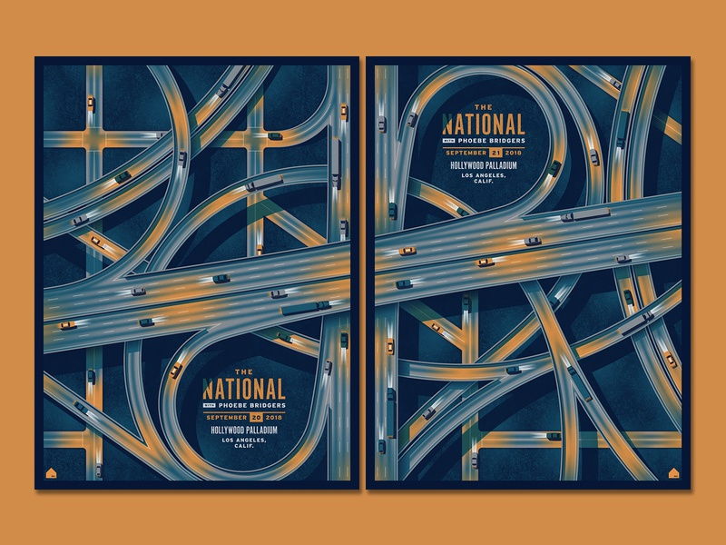 The National Los Angeles, CA Posters highway freeway los angeles the national illustration silkscreen geometric screen print poster dkng studios dkng vector nathan goldman dan kuhlken