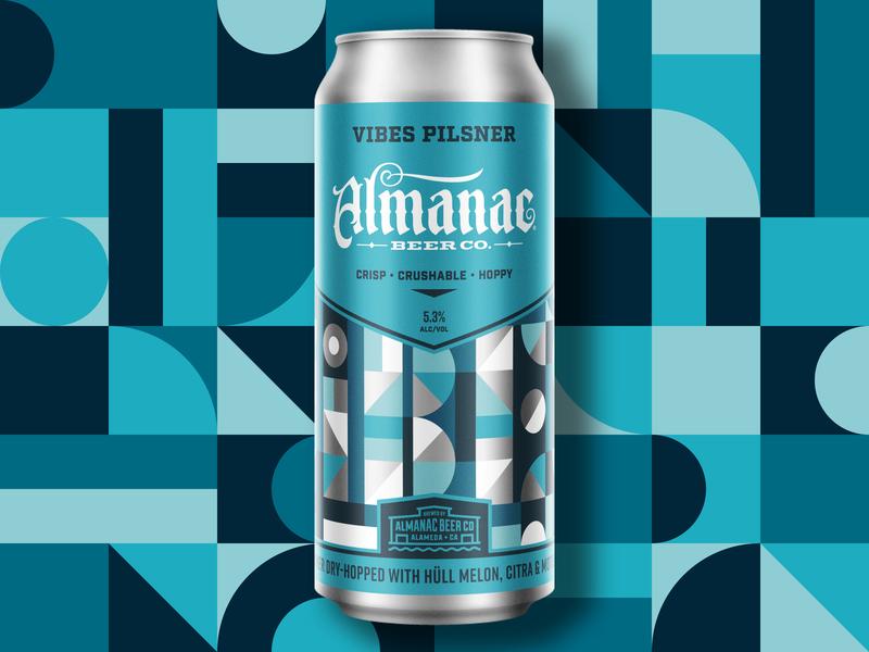 VIBES Pilsner pilsner almanac packagingdesign beer can beer can grid pattern geometry geometric dkng studios vector dkng nathan goldman dan kuhlken