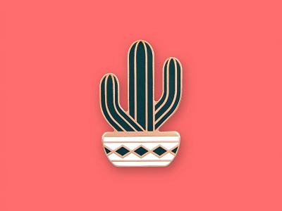 Saguaro Pin succulent pot saguaro cacti cactus icon geometric dkng studios dkng nathan goldman dan kuhlken