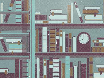Mystery Project 25 vector books bookcase clock ladder shelf blue dkng dan kuhlken nathan goldman art print poster screen print silkscreen