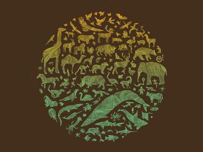 Kingdom (Night) dkng animals circle whale shark elephant deer bird gradient snake wolf gorilla turtle jellyfish horse dolphin lion lizard bug monkey rabbit cow fox dan kuhlken nathan goldman art print poster screen print silkscreen split fountain