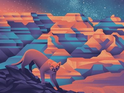 Grand Canyon National Park Poster mountain lion night space milkyway stars national park grand canyon design illustration texture art print silkscreen screen print geometric dkng studios poster vector dkng nathan goldman dan kuhlken