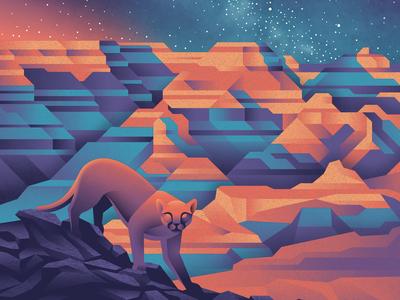 Grand Canyon National Park Poster mountain lion night space milkyway stars national park grand canyon design illustration texture art print silkscreen screen print geometric dkng studios poster vector dkng nathan goldman dan kuhlken