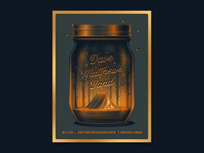 Dave Matthews Band Noblesville Live Trax Poster dave matthews band foil trees camping fireflies mason jar design illustration silkscreen screen print dkng studios poster vector dkng nathan goldman dan kuhlken