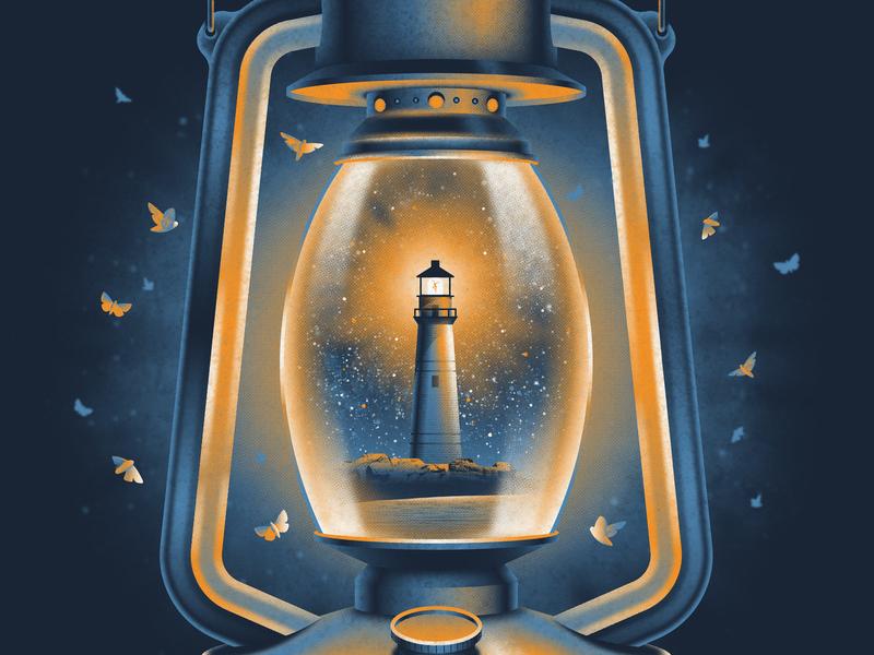 Dave Matthews Band Boston, MA Poster gig poster islanders stars night moths moth lighthouse boston lantern design illustration texture silkscreen screen print dkng studios poster vector dkng nathan goldman dan kuhlken
