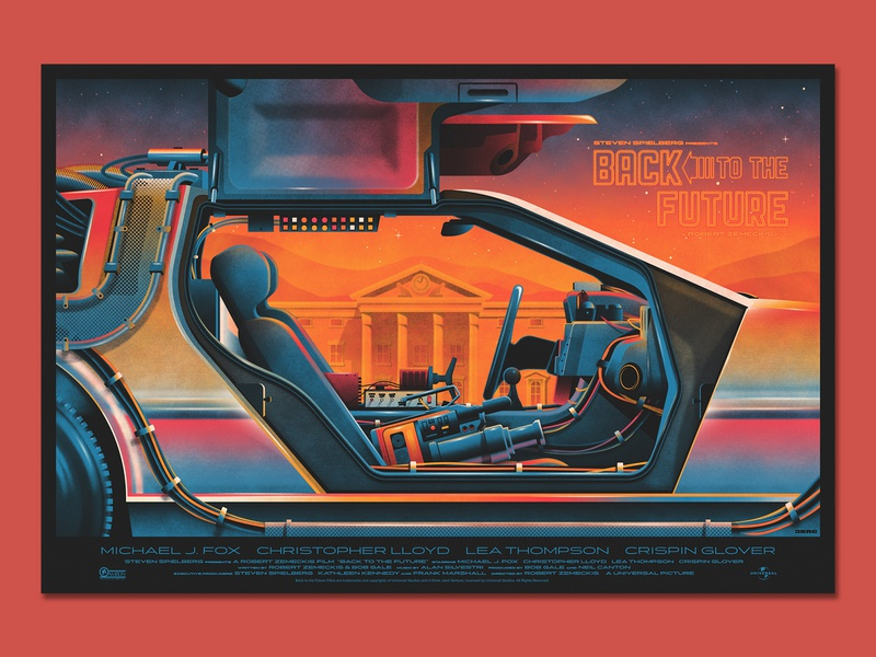 Back to the Future Poster mondo delorean back to the future design illustration silkscreen screen print geometric dkng studios poster vector dkng nathan goldman dan kuhlken