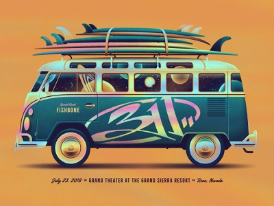 FREE Rock Poster Design Class surfboard vw van bus volkswagon vw bus skillshare 311 space silkscreen screen print dkng studios poster vector dkng nathan goldman dan kuhlken