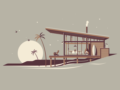 La Jolla (Animated!) surfboard stars night ocean moon palm tree beach animation clouds screen print silkscreen geometric dkng studios poster vector dkng nathan goldman dan kuhlken