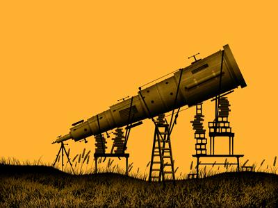 Mystery Project 28.1 dkng telescope books ladder grass field orange dusk dan kuhlken nathan goldman art print poster screen print silkscreen