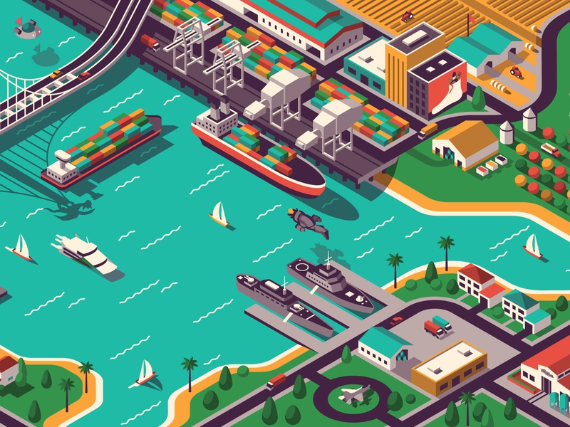 Skillshare Isometric Illustration Class sailboat pier bay dock farm islanders boat tutorial class skillshare isometric city san francisco illustration geometric dkng studios vector dkng nathan goldman dan kuhlken