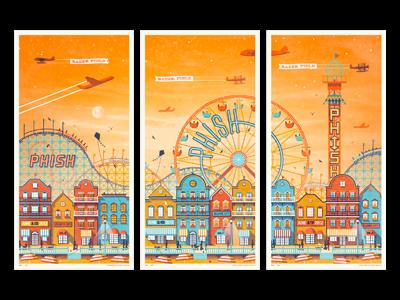Phish // Atlantic City, NJ Poster Series phish boardwalk carnival plane kite buildings beach sunset triptych dkng dan kuhlken nathan goldman poster screen print silkscreen atlantic city roller coaster
