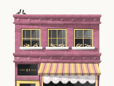 Mavis Staples // Austin City Limits Poster vector windows pigeons building salon magenta yellow awning shadow texture dan kuhlken nathan goldman art print poster screen print silkscreen mavis staples