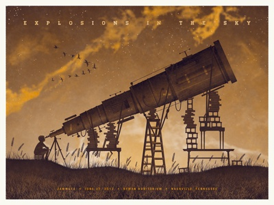 Explosions In The Sky // Nashville, TN Poster dkng telescope kid child boy grass sunset night orange clouds ladder stars dan kuhlken nathan goldman art print poster screen print silkscreen explosions in the sky