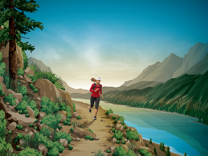 Clif Bar Product Illustration rocks plants mountains river sky clouds tree trail running dkng studios vector dkng nathan goldman dan kuhlken