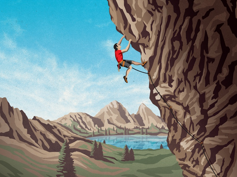 Clif Bar Product Illustration trees lake clif bar clouds sky mountains hills rock climbing dkng studios vector dkng nathan goldman dan kuhlken