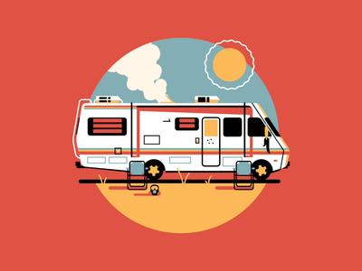 Let's Cook (Animated) arizona desert sun motion animation badge camper trailer breaking bad icon geometric dkng studios poster vector dkng nathan goldman dan kuhlken