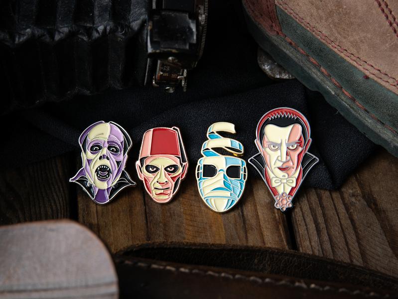 Pin Design Workshop at Gallery Nucleus invisible man mummy phantom of the opera dracula universal monster monster enamel pin pink dkng nathan goldman dan kuhlken