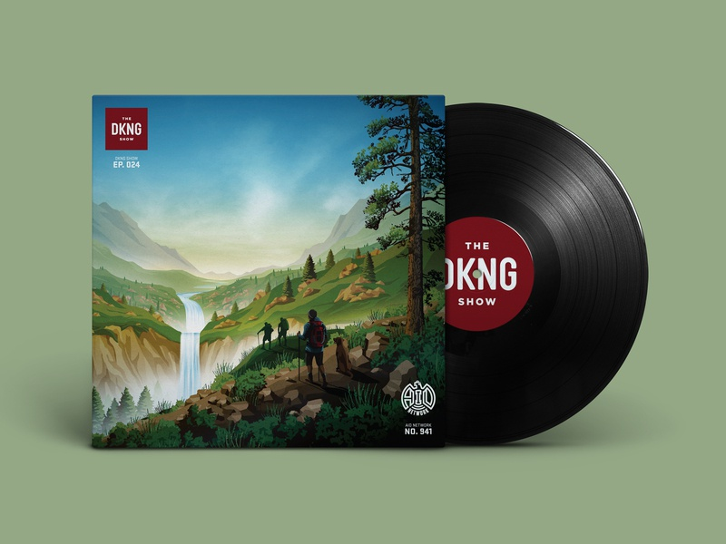 The DKNG Show (Episode 24) rocks mountains sky cliff waterfall hiking tree vinyl winderness adventures in design podcast illustration dkng studios vector dkng nathan goldman dan kuhlken