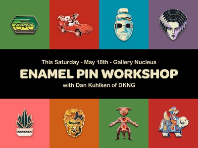 Enamel Pin Workshop w/ DKNG gallery nucleus brooch lapelpin enamel pin illustration icon geometric dkng studios vector dkng nathan goldman dan kuhlken
